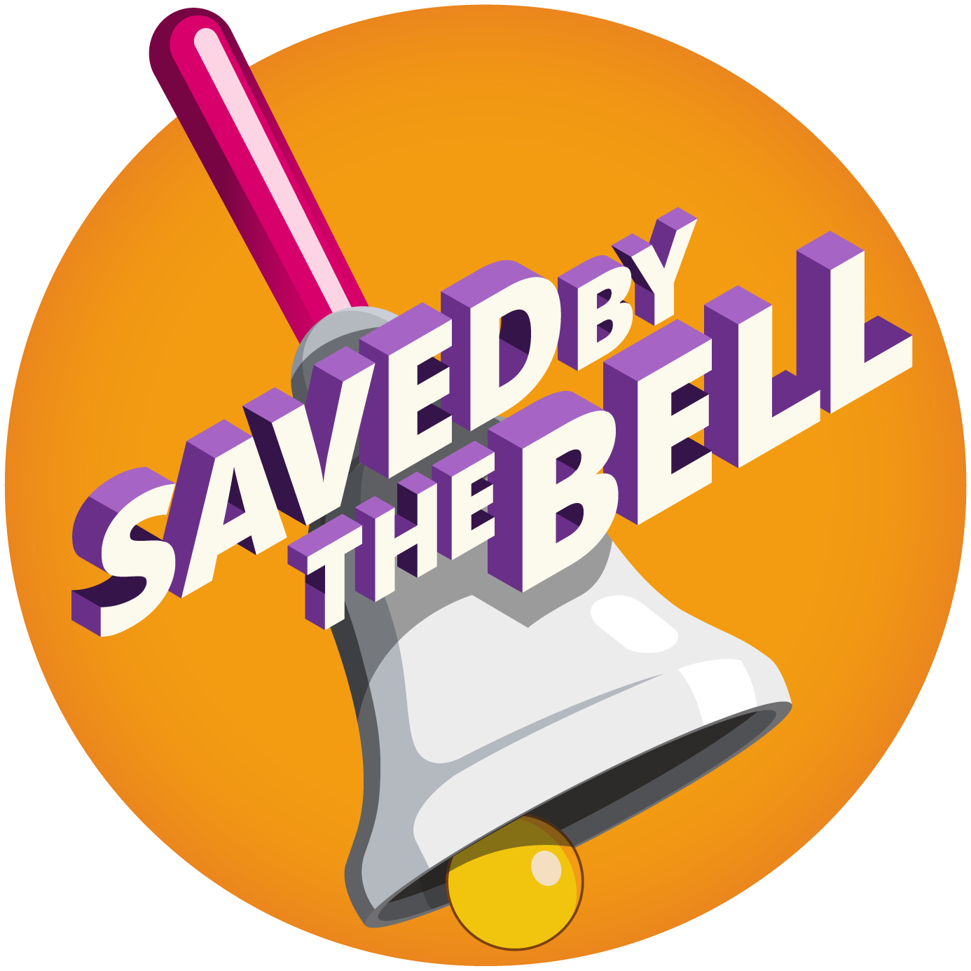 Beeldmerk of logo: een bel met de tekst Saved by the bell